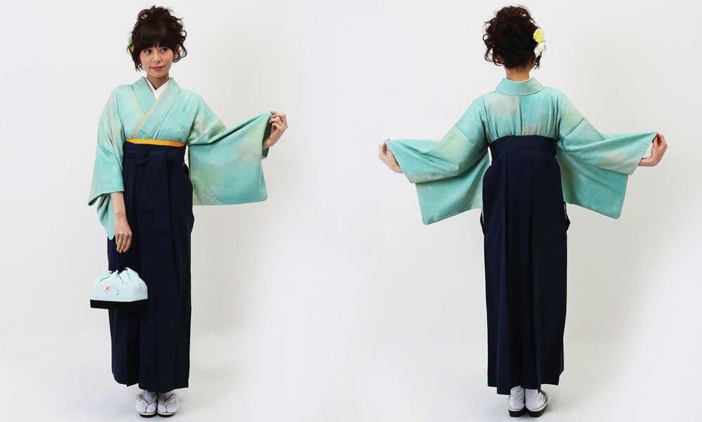 おすすめ卒業式袴(アンティーク)レンタル | コバルトグリーンとクリームのぼかし 正絹のアンティーク