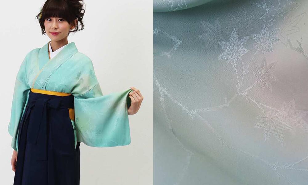 おすすめ卒業式袴(アンティーク)レンタル | コバルトグリーンとクリームのぼかし 正絹の地紋に紅葉