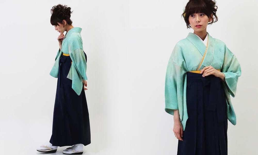 おすすめ卒業式袴(アンティーク)レンタル | コバルトグリーンとクリームのぼかし アンティーク感を際立たせる紺袴