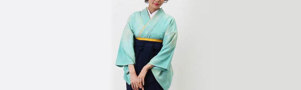 おすすめ卒業式袴(アンティーク)レンタル | コバルトグリーンとクリームのぼかし