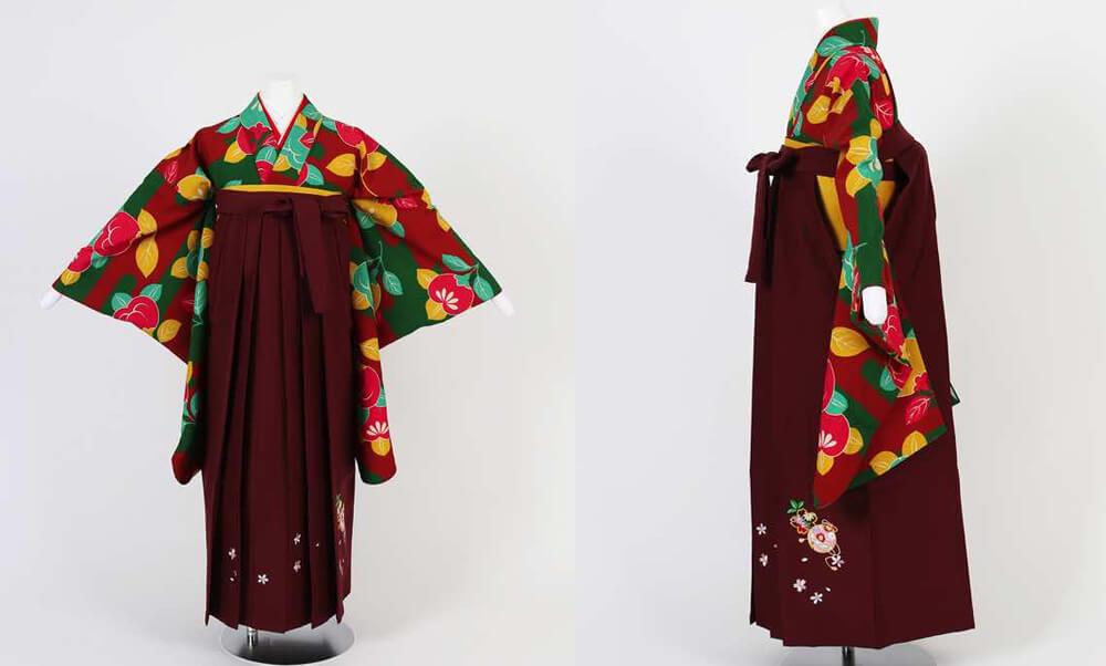 卒業式袴(小学生用)レンタル | 霞と橘 刺繍入り袴_緑×赤 霞と橘 刺繍入り臙脂袴が小学生の女の子らしい