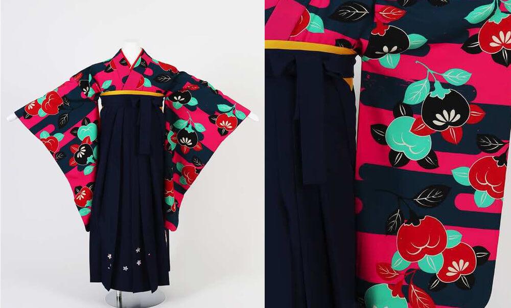 卒業式袴(小学生用)レンタル | 霞と橘 刺繍入り袴_紺×ピンク 霞と橘 刺繍入り紺袴が小学生の女の子らしい
