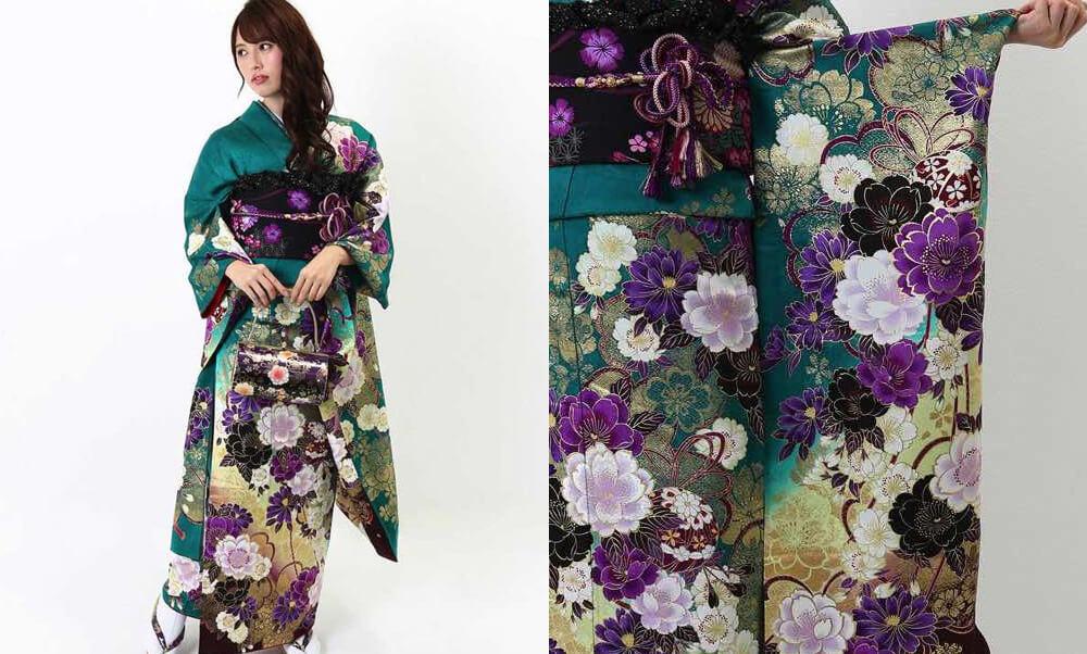 おすすめ振袖レンタル | 緑地に豪華金彩と紫の花 緑の振袖に紫色の八重桜 妖艶な金彩