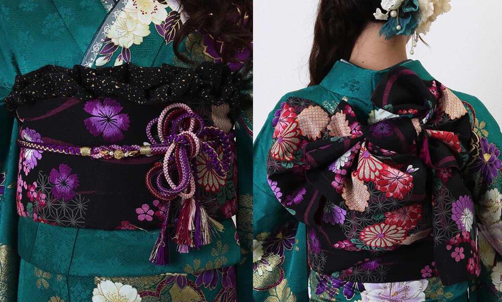 おすすめ振袖レンタル | 緑地に豪華金彩と紫の花 緑の振袖に紫色の八重桜 黒い帯