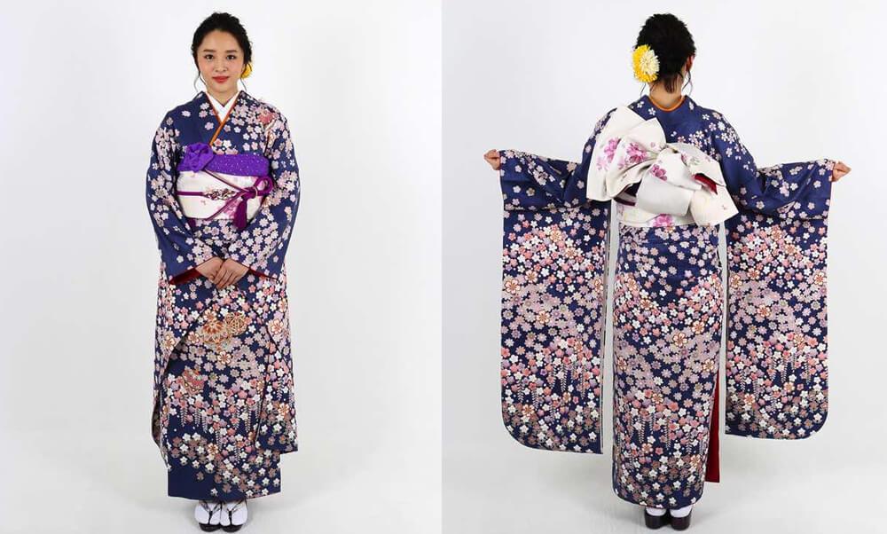 おすすめ振袖レンタル | 紺地に咲き溢れる小花と毬 梅 桜 菖蒲 藤の小花が咲き誇る振袖