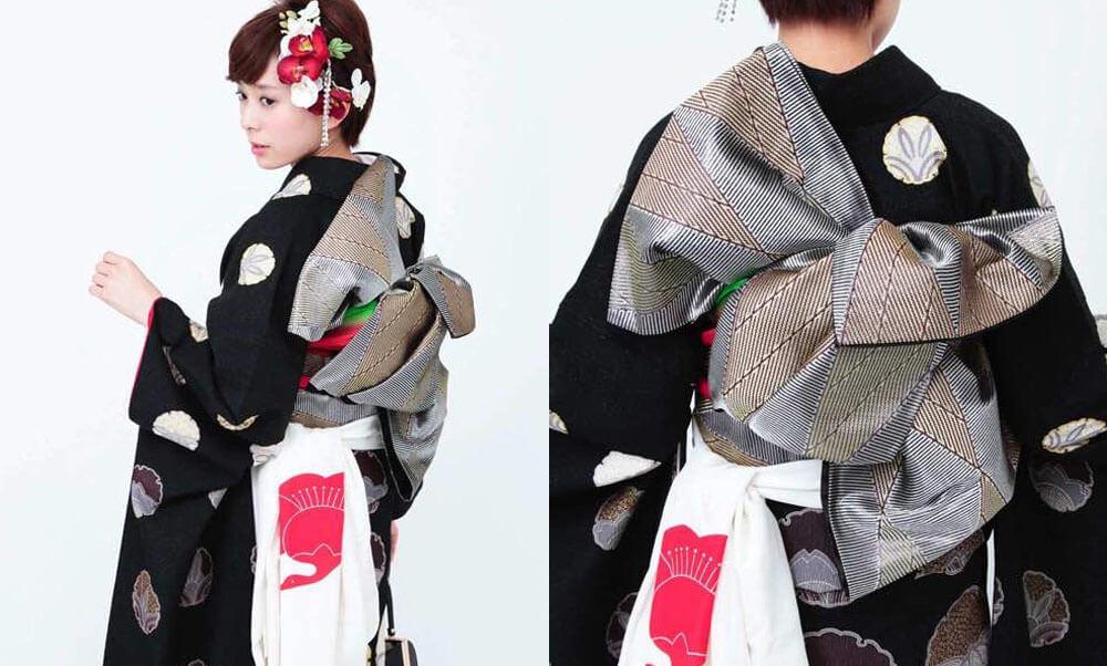 おすすめ振袖レンタル | 濡羽の雪輪 雪輪の黒色の振袖にデザイン性の高い正絹の帯