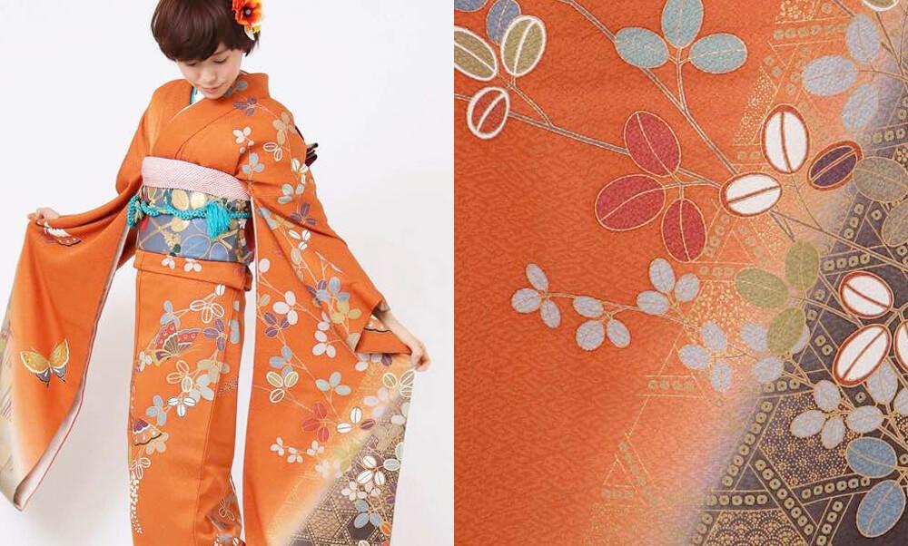 おすすめ振袖レンタル | 金赤蝶舞 オレンジ地に舞う蝶々と茶紫の色暈し