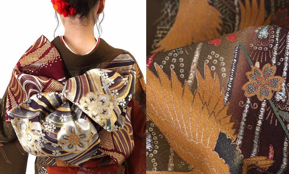 おすすめ振袖レンタル | 鶯茶に羽の流線と舞鶴 茶色の振袖に繊細な柄が美しい振袖