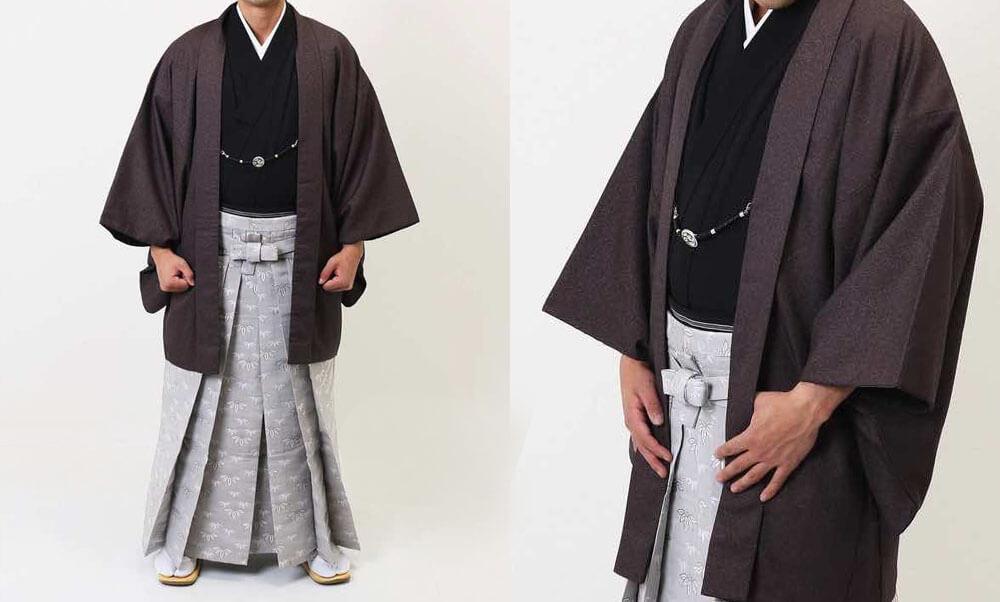 おすすめ男性用 羽織袴レンタル | ライトグレーの縞羽織 | 茶羽織に草紋様袴 | ライトブルーの羽織に仙台平 メンズの紋付袴に人気の茶色