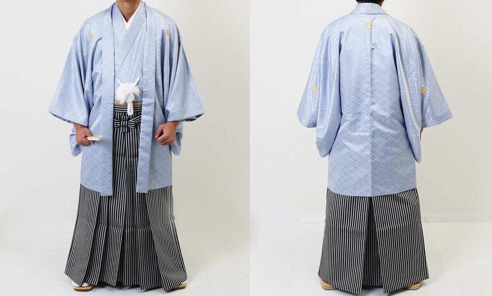 おすすめ男性用 羽織袴レンタル | ライトグレーの縞羽織 | 茶羽織に草紋様袴 | ライトブルーの羽織に仙台平 男を格好良く見せるライトブルーの紋付袴