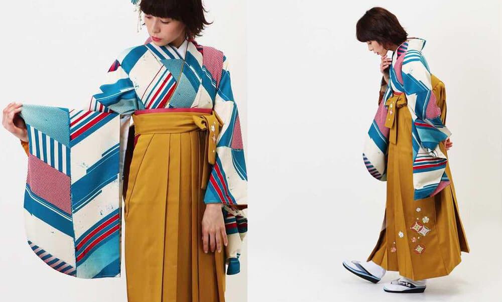 おすすめ卒業式袴レンタル | ヤバネ ターコイズ 山吹刺繍袴 モダンアンテナの卒業式袴に山吹色の袴