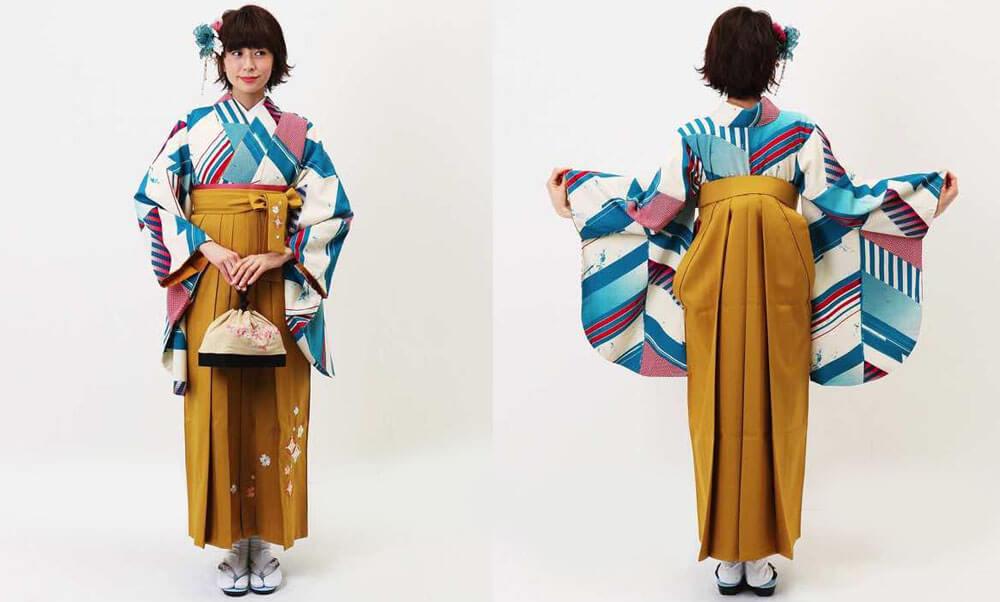 おすすめ卒業式袴レンタル | ヤバネ ターコイズ 山吹刺繍袴 モダンアンテナの卒業式袴