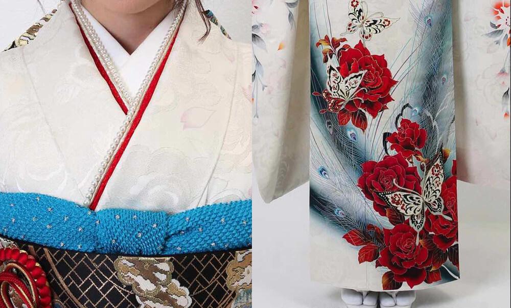 おすすめ振袖レンタル | 白地に孔雀模様 赤い薔薇と蝶 人気の白い振袖と赤い薔薇