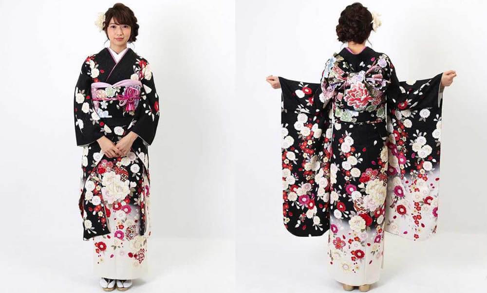 おすすめ振袖レンタル | 黒地に白の裾暈し 桜と鞠模様 黒地に紅白の桜