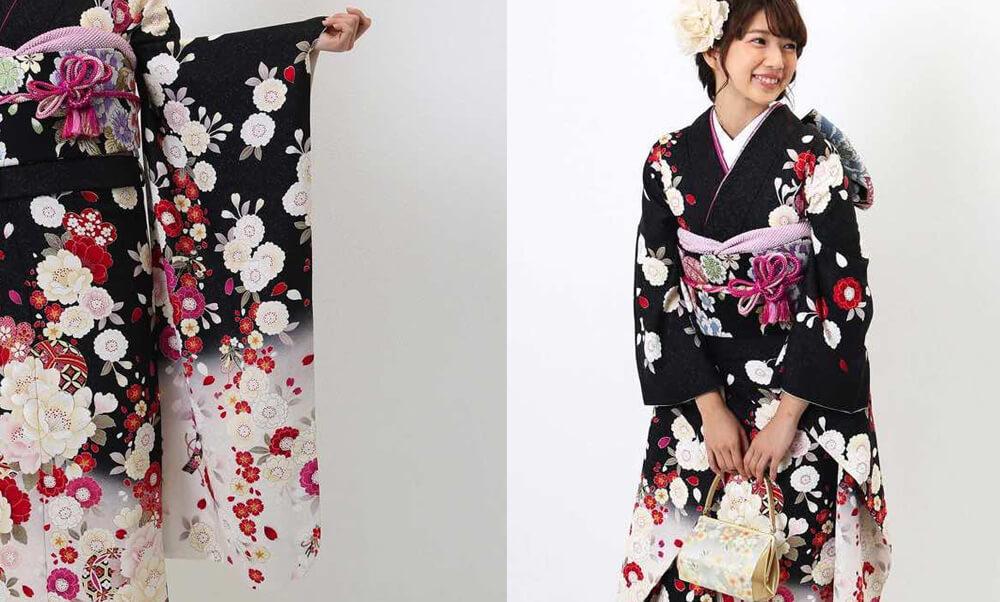 おすすめ振袖レンタル | 黒地に白の裾暈し 桜と鞠模様 黒地に紅白の桜 白地に白い花々 赤い花