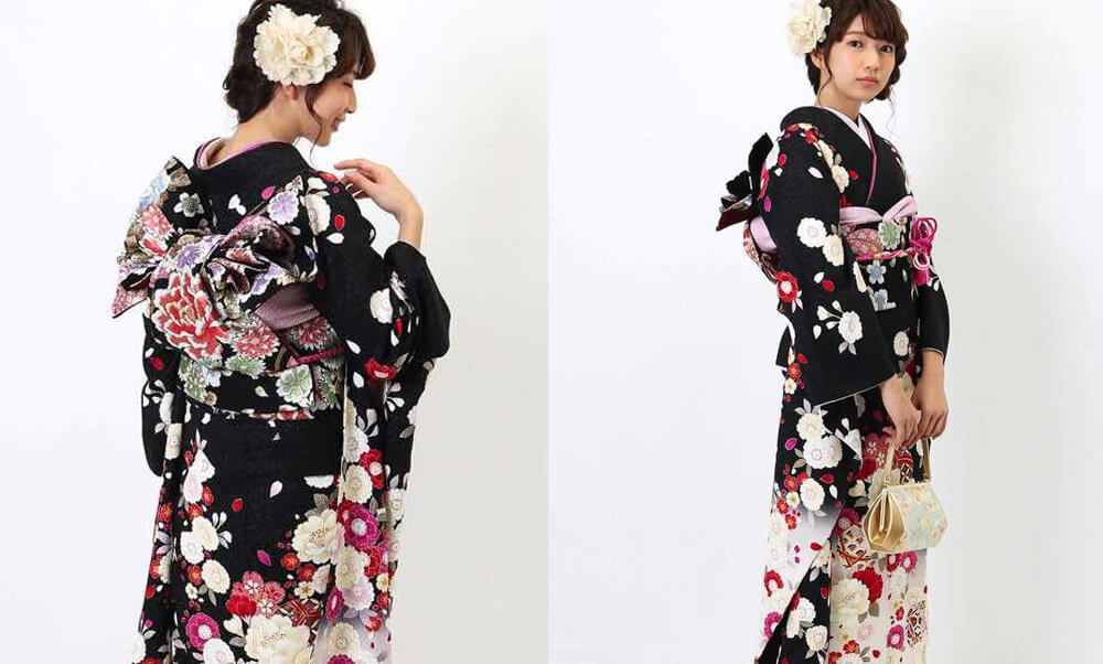 おすすめ振袖レンタル | 黒地に白の裾暈し 桜と鞠模様 黒地に紅白の桜 花の黒い帯