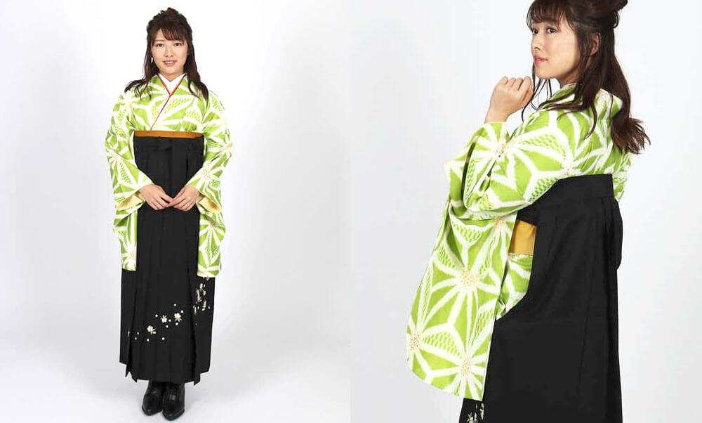 おすすめ卒業式袴レンタル | 若竹色地に麻の葉 刺繍黒袴 麻の葉模様にグリーンの卒業式袴