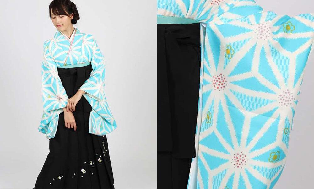 おすすめ卒業式袴レンタル | 水色地に麻の葉 刺繍入り黒袴 水色と麻の葉がすっきりと綺麗な卒業式袴