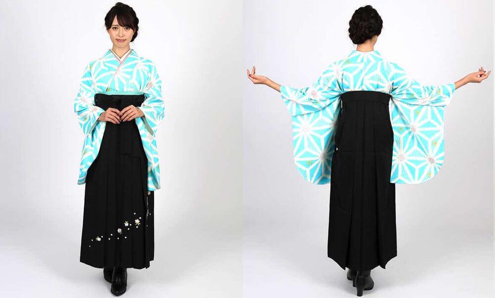 おすすめ卒業式袴レンタル | 水色地に麻の葉 刺繍入り黒袴 水色と麻の葉