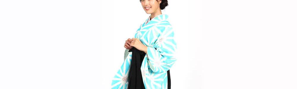 おすすめ卒業式袴レンタル | 水色地に麻の葉 刺繍入り黒袴