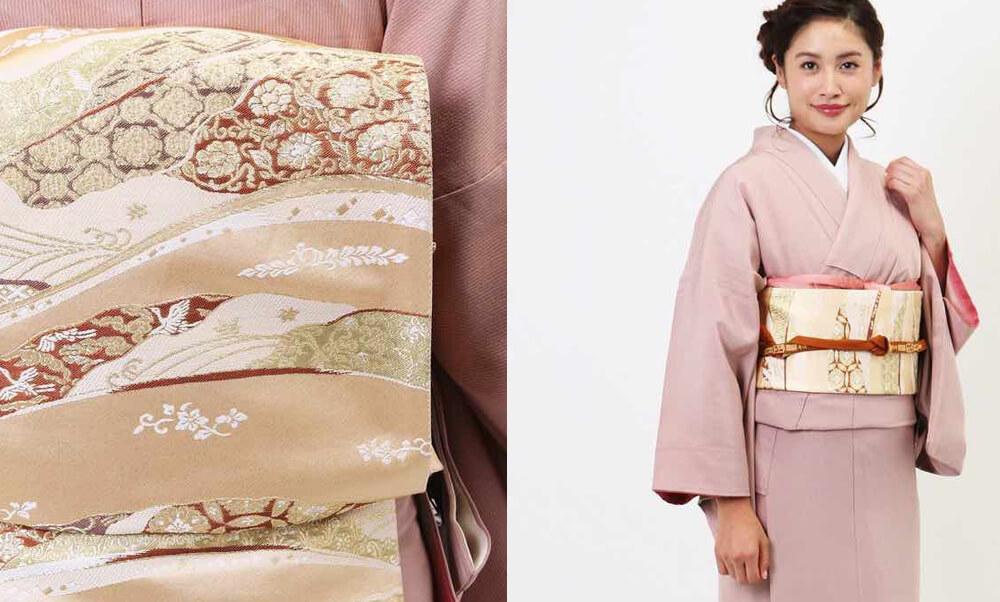 おすすめ訪問着レンタル | 正絹 ピンク色 花模様 ピンクに金の帯が素敵