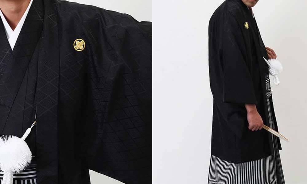 おすすめ羽織袴レンタル | 黒の菱紋羽織に縞袴 成人式は黒紋付袴