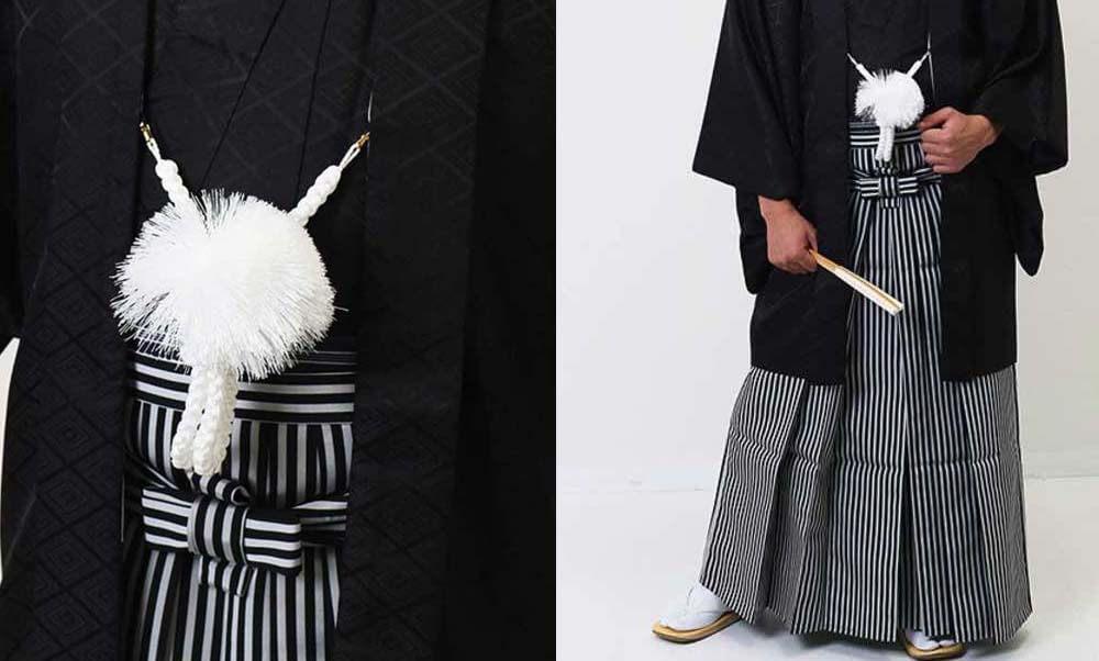おすすめ羽織袴レンタル | 黒の菱紋羽織に縞袴 成人式は黒紋付袴がかっこいい