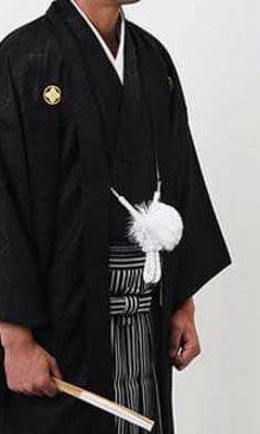 おすすめ羽織袴レンタル | 黒の菱紋羽織に縞袴