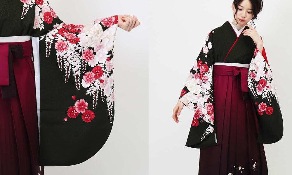 おすすめ卒業式袴レンタル | 深緑百花と桜ぼかし 黒地に白と赤の可憐な花々