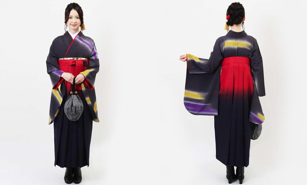 おすすめ卒業式袴レンタル | 夜空のオーロラ グレイッシュバイオレットの着物に赤と紺の袴