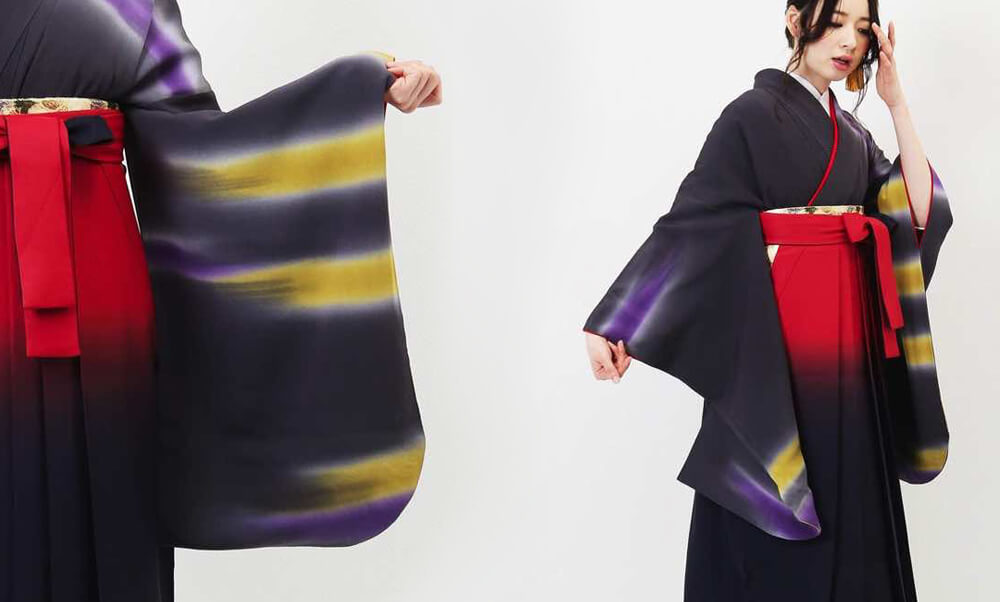 おすすめ卒業式袴レンタル | 夜空のオーロラ グレイッシュバイオレットの着物に辛子色と紫色の神秘的な光
