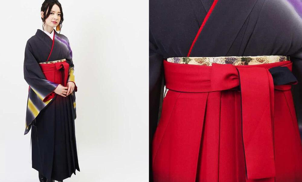 おすすめ卒業式袴レンタル | 夜空のオーロラ グレイッシュバイオレットの着物に赤と紺の色暈しが素敵な袴です