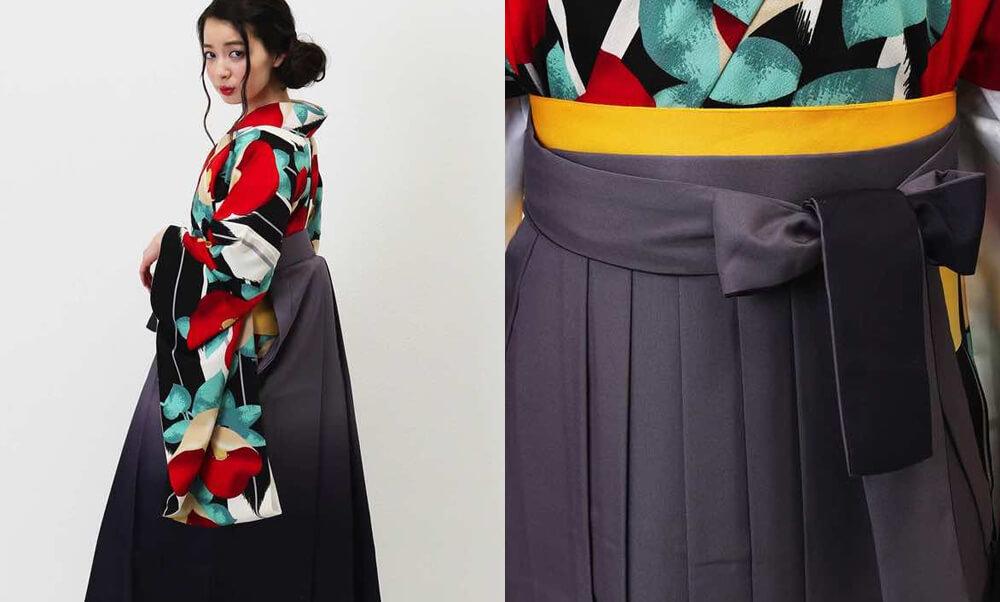 おすすめ卒業式袴レンタル | 黒地に大矢絣 赤椿 グレーから黒へのグラデーションの袴と赤い椿