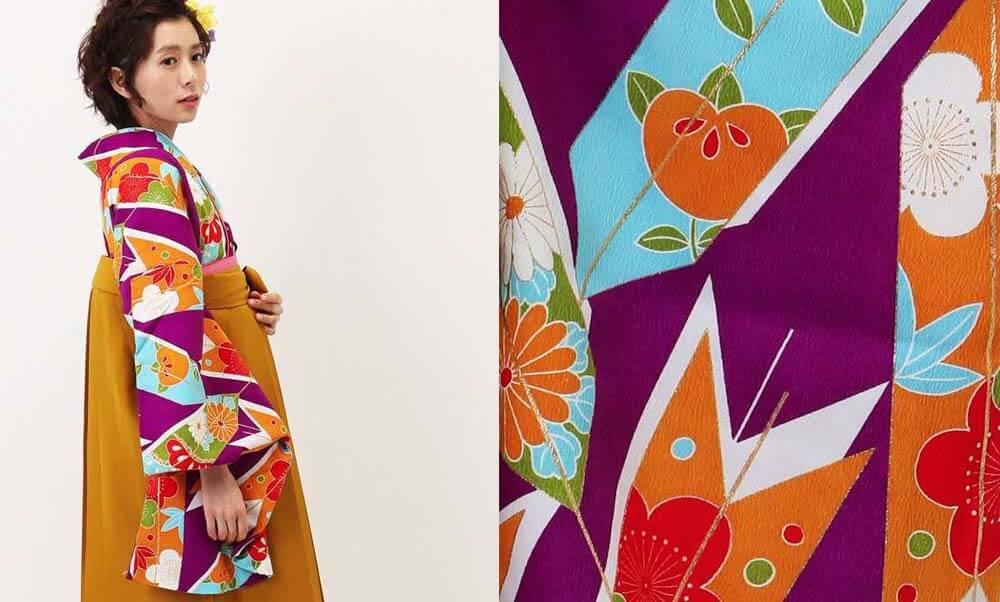 おすすめ卒業式袴レンタル | 紫大矢羽根×山吹袴 可愛くてカラフルな矢羽や橘が華やか
