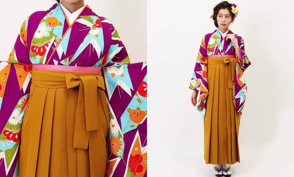 おすすめ卒業式袴レンタル | 紫大矢羽根×山吹袴 可愛くてカラフルな振袖に上品な山吹色の袴