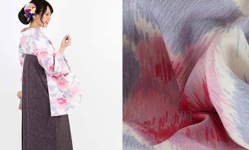 おすすめ卒業式袴レンタル | 【JILLSTUART】薄ベージュ地に薔薇 グレー更紗袴 クリーム地にピンクのバラが可愛らしい着物