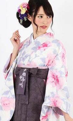 おすすめ卒業式袴レンタル | 【JILLSTUART】薄ベージュ地に薔薇 グレー更紗袴