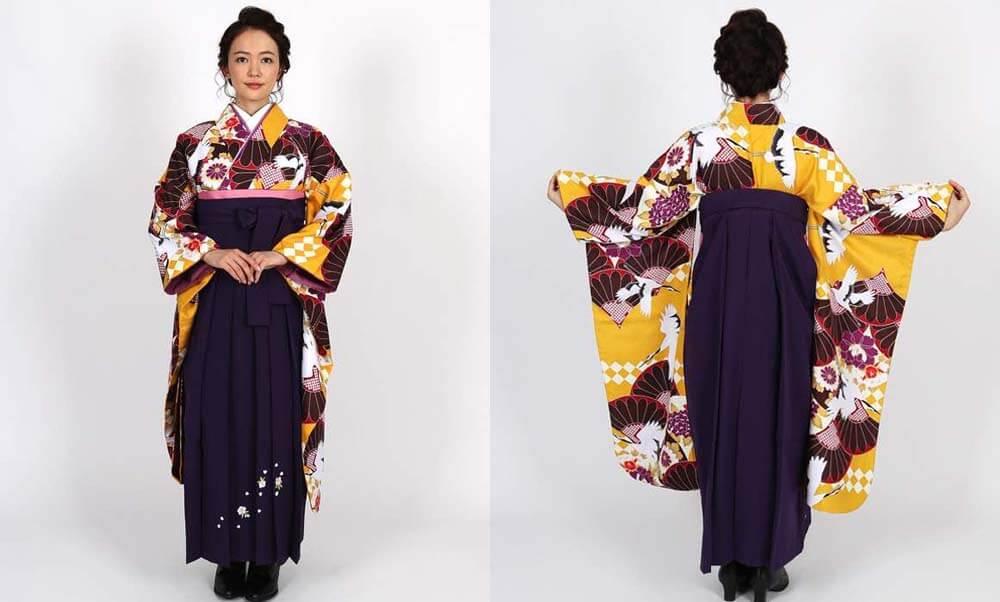おすすめ卒業式袴レンタル | 黄色地に菊と鶴 刺繍入り紫袴 中振袖と袴