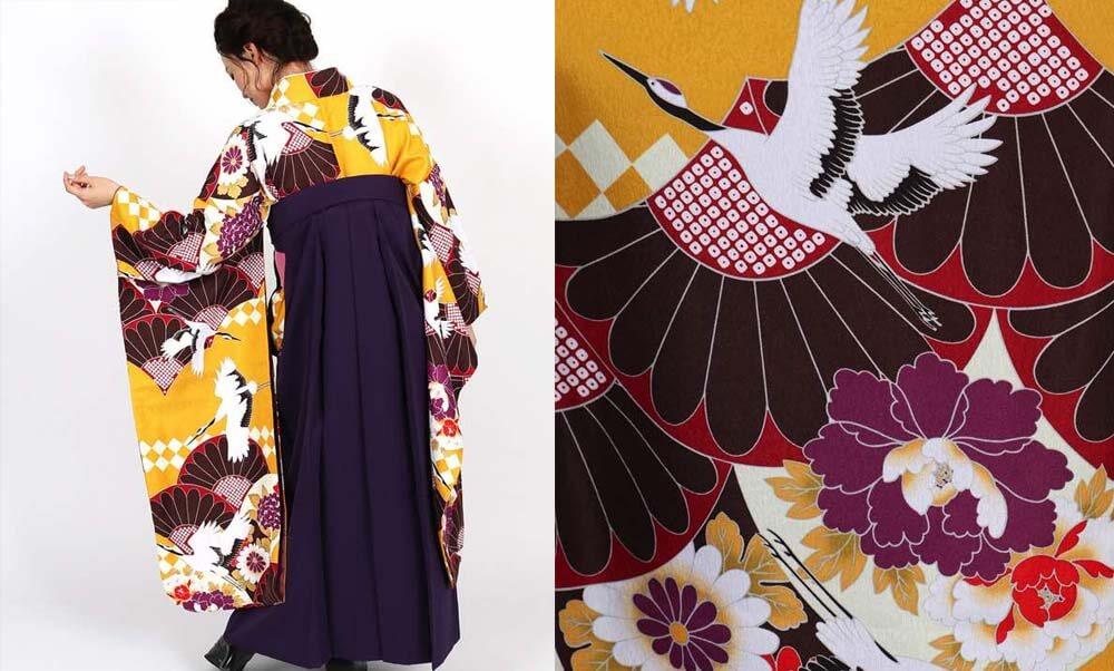 おすすめ卒業式袴レンタル | 黄色地に菊と鶴 刺繍入り紫袴 花模様の青海波がモダンなデザイン