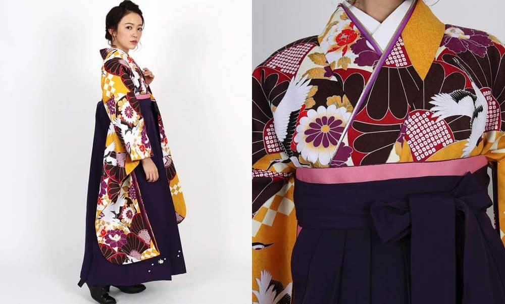 おすすめ卒業式袴レンタル | 黄色地に菊と鶴 刺繍入り紫袴 深紫袴が上品にお洒落度アップ