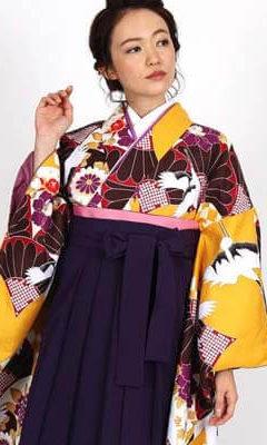おすすめ卒業式袴レンタル | 黄色地に菊と鶴 刺繍入り紫袴