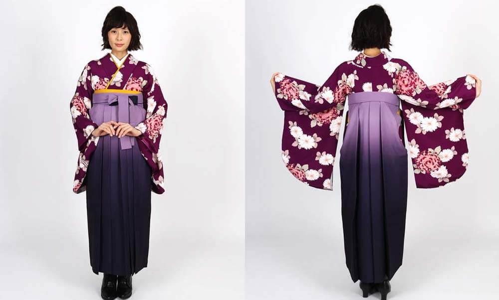 おすすめ卒業式袴レンタル | 赤紫地に菊 薄暈しの紫袴 ラズベリー色が可愛い卒業式袴です