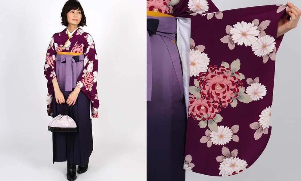 おすすめ卒業式袴レンタル | 赤紫地に菊 薄暈しの紫袴 ラズベリー色に菊模様