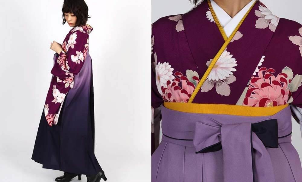おすすめ卒業式袴レンタル | 赤紫地に菊 薄暈しの紫袴 ラズベリー色にすみれ色のグラデーションが入ったシックな紺色袴