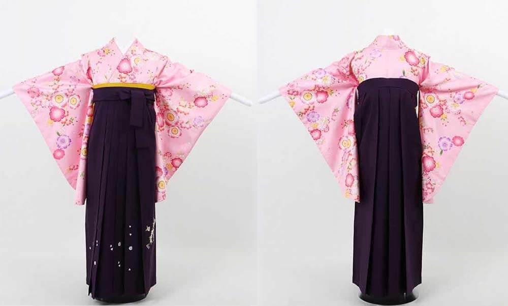 おすすめ卒業式袴(小学生用)レンタル | ピンク地に桜尽くし 刺繍入り濃紫袴 優しいピンク地