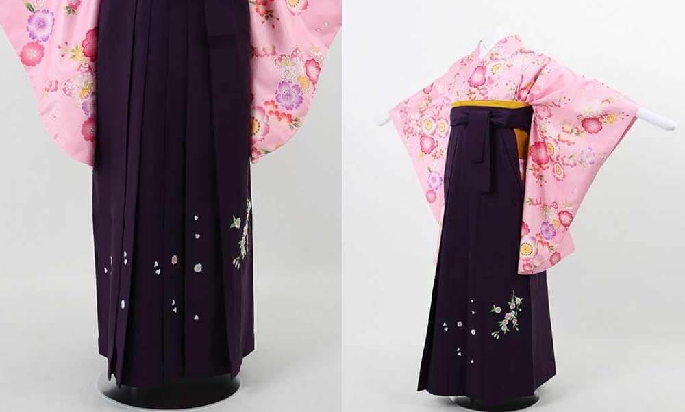 おすすめ卒業式袴(小学生用)レンタル | ピンク地に桜尽くし 刺繍入り濃紫袴 黒の桜刺繍が可愛い小学生用の卒業式袴
