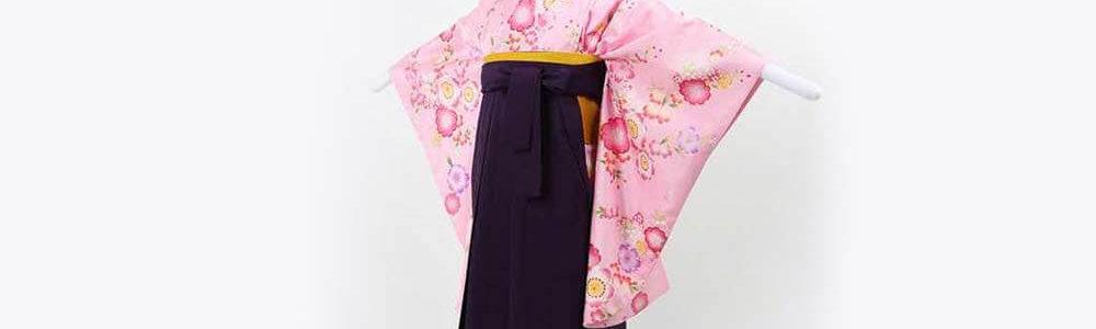 おすすめ卒業式袴(小学生用)レンタル | ピンク地に桜尽くし 刺繍入り濃紫袴