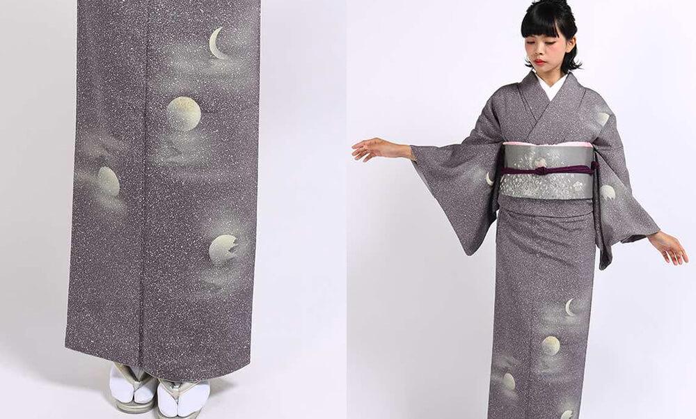 おすすめ訪問着レンタル | 灰紫地のたたき染めに月 個性的なデザインがお洒落な正絹の訪問着