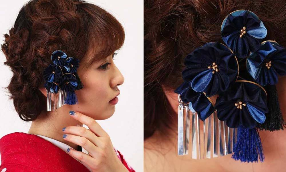 おすすめ髪飾りレンタル | Conomi 藍色のつまみ簪 髪飾り | 濃紺×藍 タッセル つまみ細工