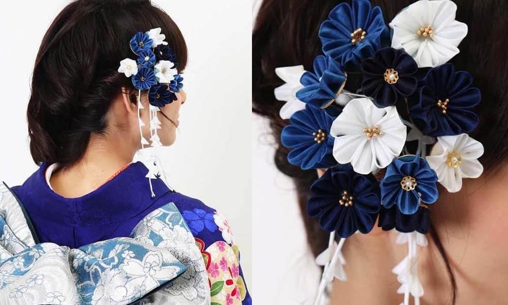 おすすめ髪飾りレンタル | Conomi 藍色のつまみ簪 髪飾り | 下がり飾り つまみ細工